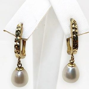 Jewelry - 14K Gold Pearl Hoop Dangling Earrings/Young Girld